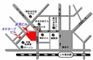 博多からオクターブビルまでの地図